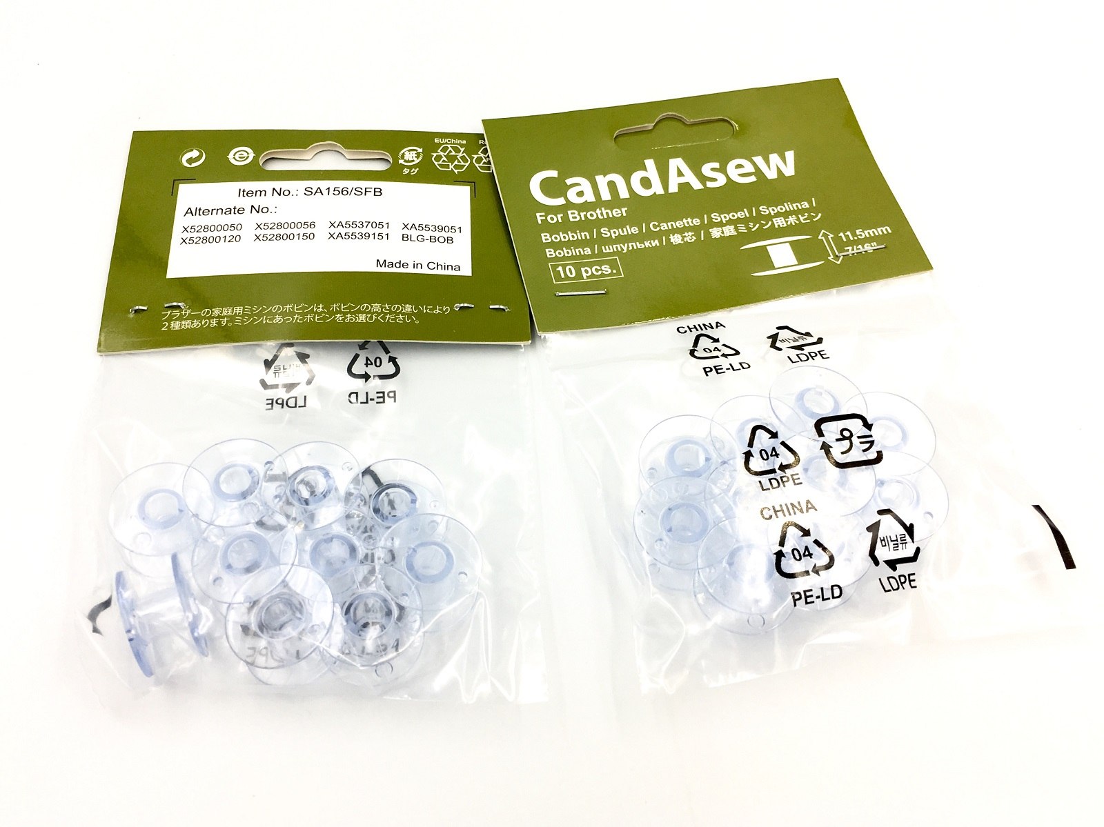 Candasew 11.5mm Bobbin for Brother - 20 Pack (SFB, SA156)