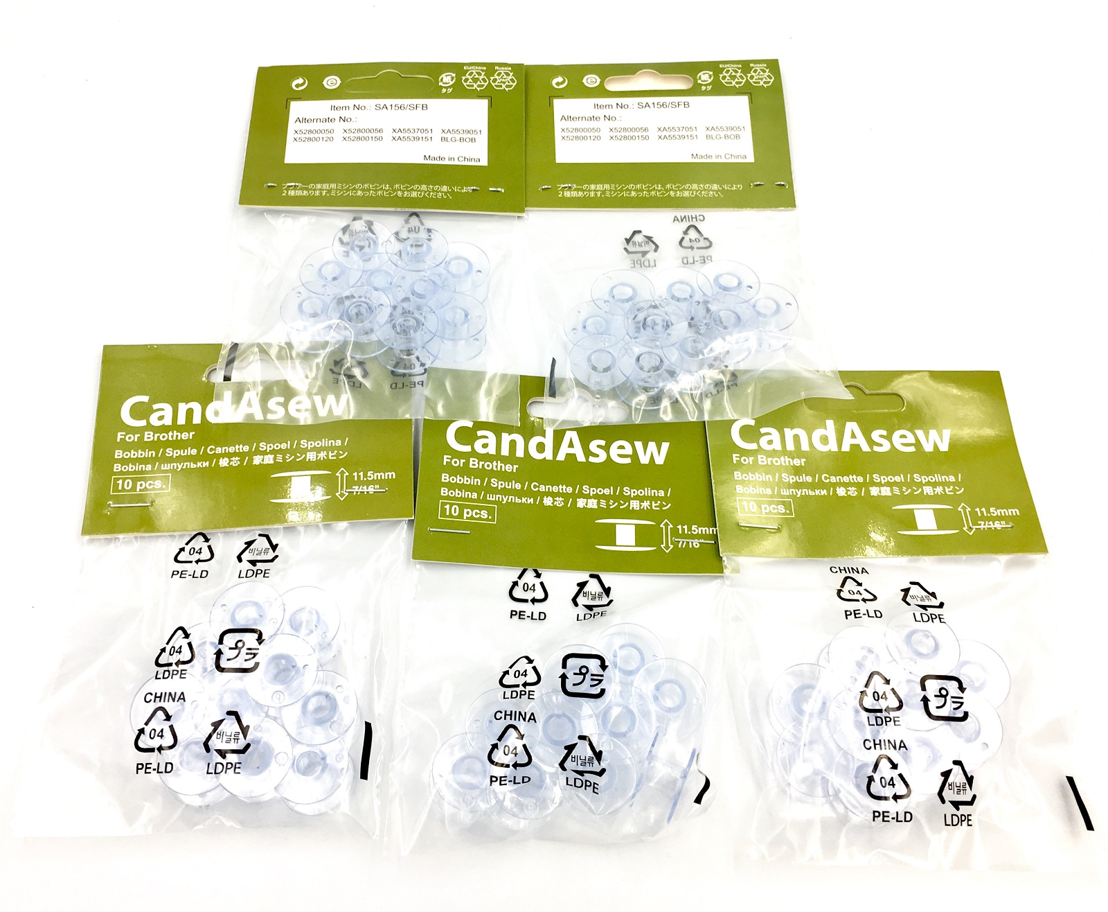 Candasew 11.5mm Bobbin for Brother - 50 Pack (SFB, SA156)